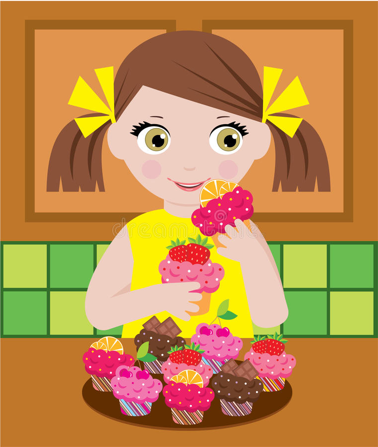Download Little Girl In Kitchen With Cupcakes Stock Vector - Image: 24021515