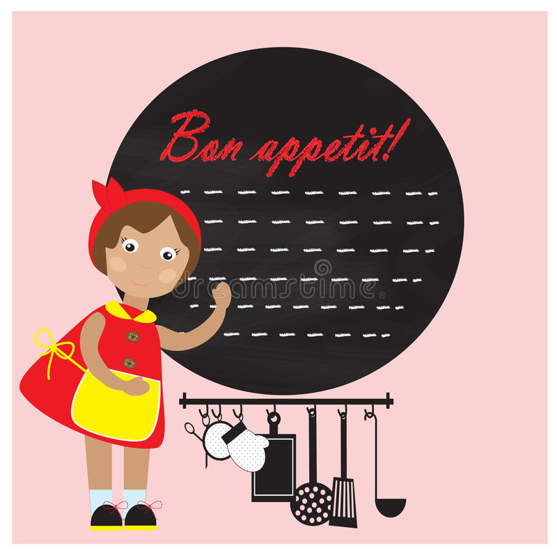 Little girl with kitchenware and chalk board vector illustration