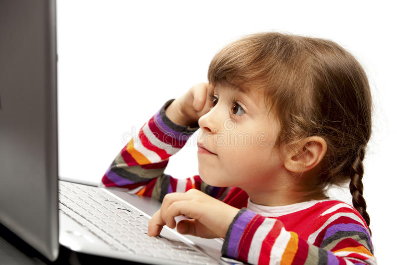 Download Little girl with a laptop stock image. Image of keyboard - 16523193