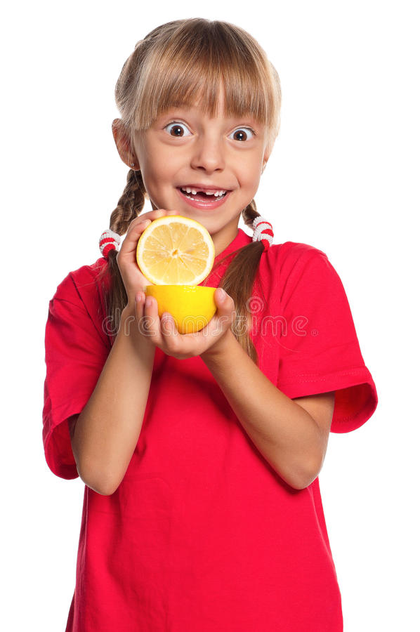 Download Little Girl With Lemon Royalty Free Stock Photography - Image: 27015117