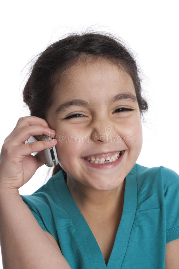Download Little Girl Is Is Listening To Her Mobile Phone Stock Photo - Image: 11273240