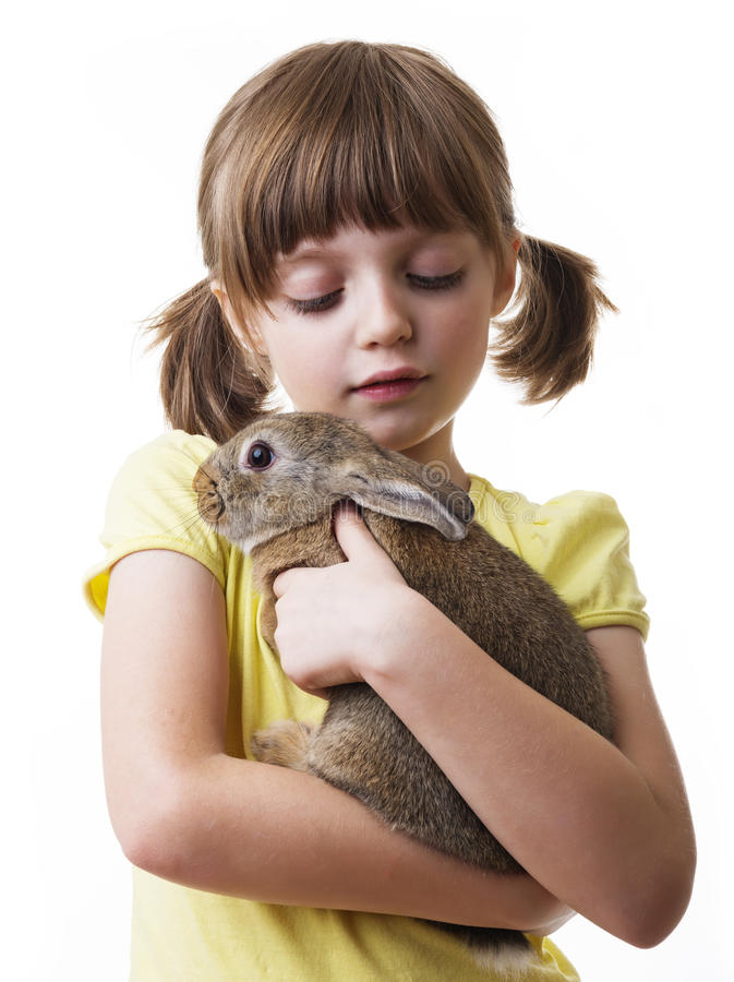 Little girl and a little brown rabbit royalty free stock photography