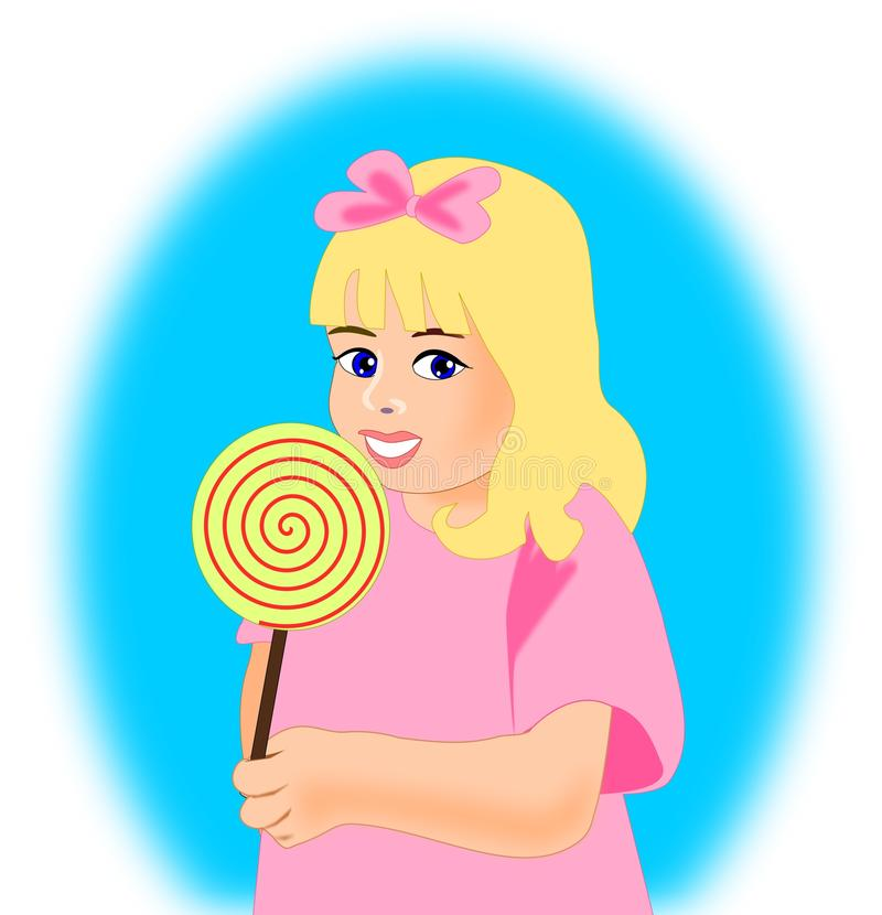 Download Little Girl with Lollipop stock illustration. Image of girl - 25692605