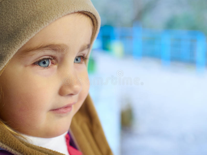 Little girl look to close-up. royalty free stock image