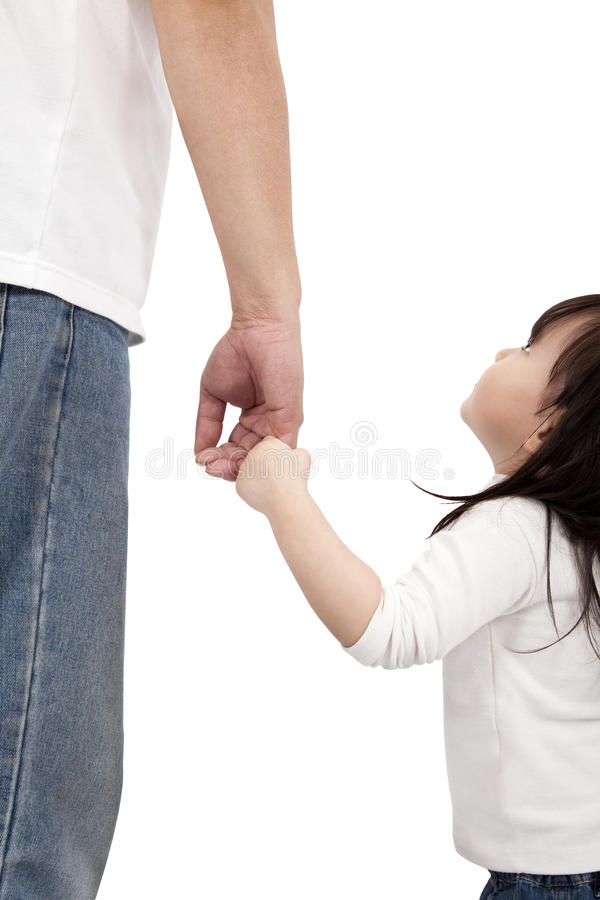Little girl looking her father stock photography