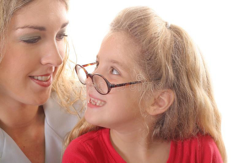 Download Little Girl Looking At Mom With Glasses Smiling Stock Photo - Image: 6787864