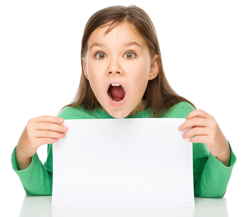 Little girl is looking out from the blank banner. Opening her mouth in astonishment, isolated over white stock images