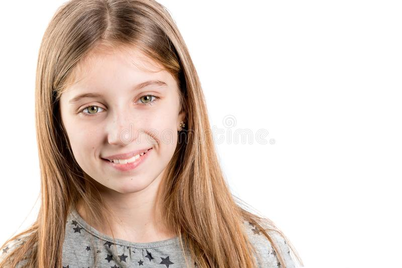 Little girl looking to the side stock photography