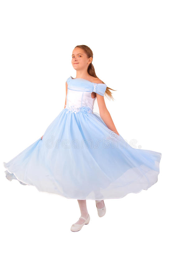 Download Little Girl Looks Like A Small Princess In Blue Stock Photo - Image: 12919462