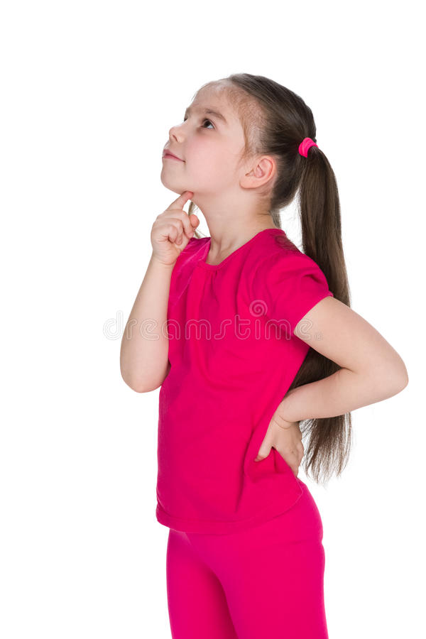 Little girl looks up royalty free stock images