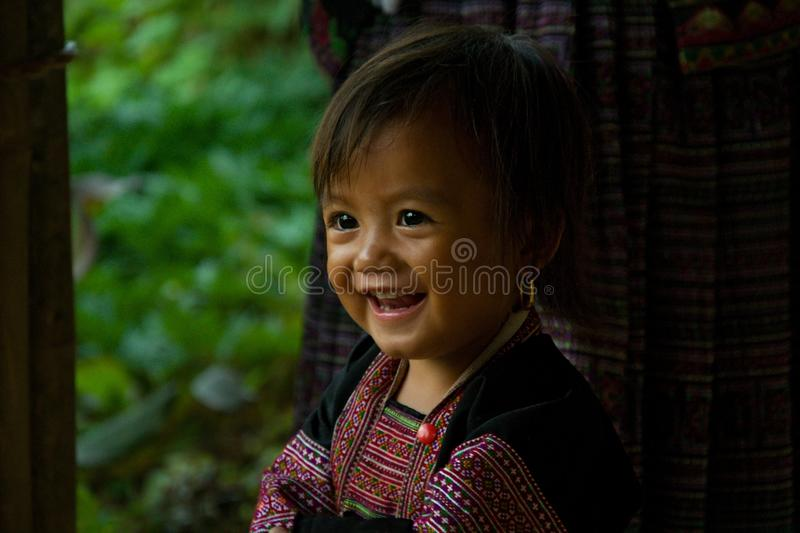 Little girl during Love Market festival in Vietnam. Editorial caption royalty free stock image