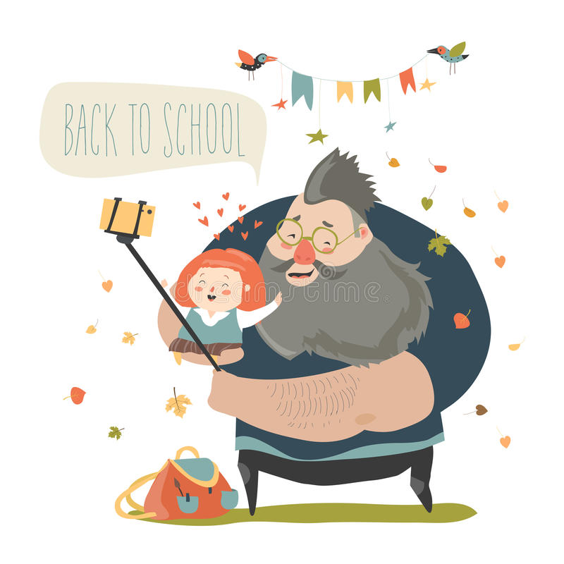 Little girl making selfie with her father. Back to school royalty free illustration