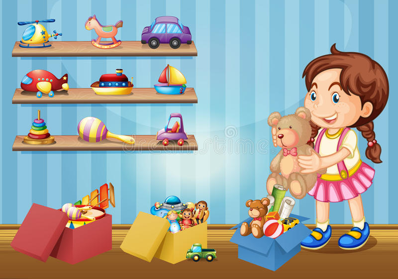 Little girl and many toys royalty free illustration