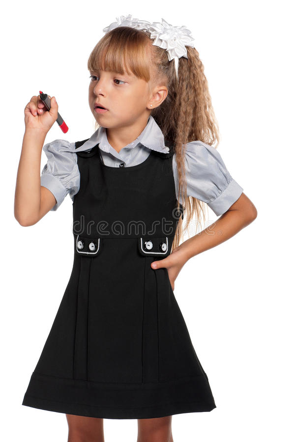 Download Little girl with marker stock image. Image of beautiful - 26585167