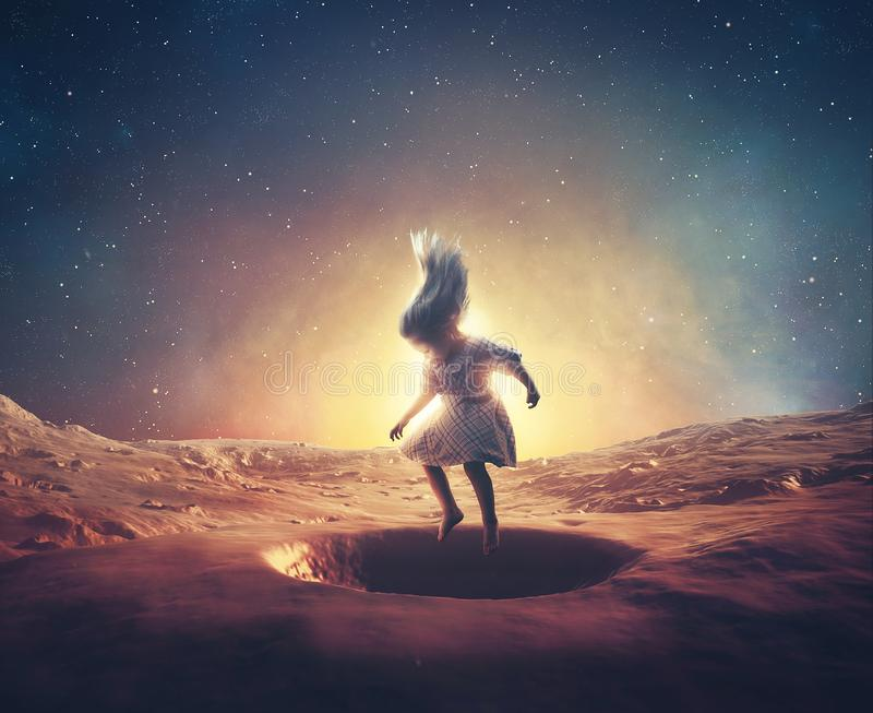 Little girl on mars. A little girl jumps in craters on mars royalty free stock photos