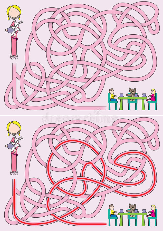 Little girl maze vector illustration