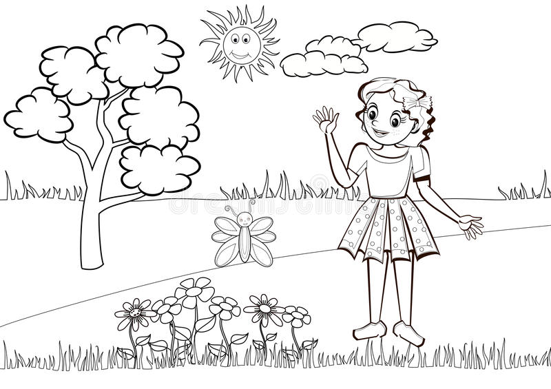 Line Drawing Sunny Day : Little girl in the meadow colouring book stock