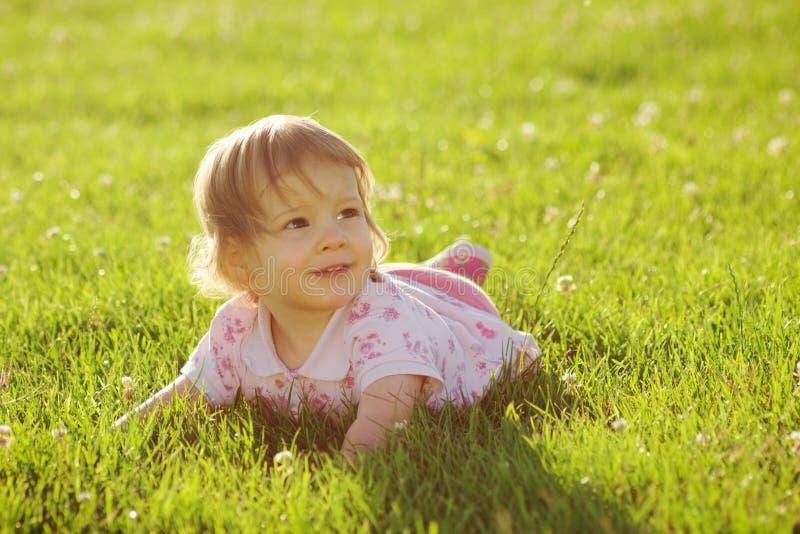 Little girl on meadow stock image