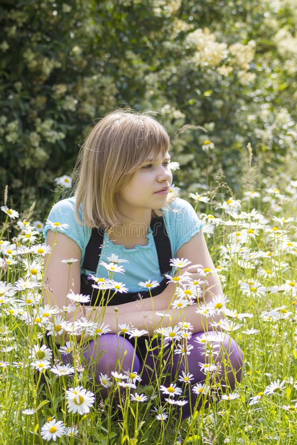 Little girl on the meadow stock photo