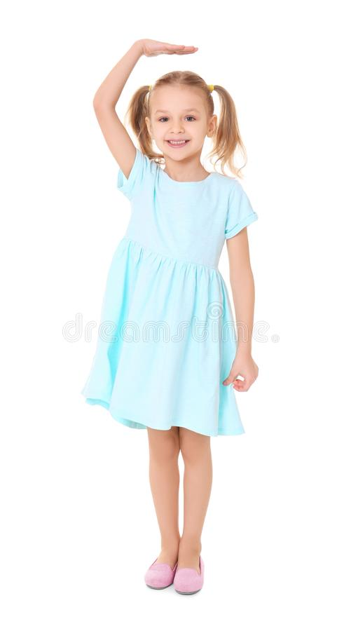 Little girl measuring height royalty free stock photography