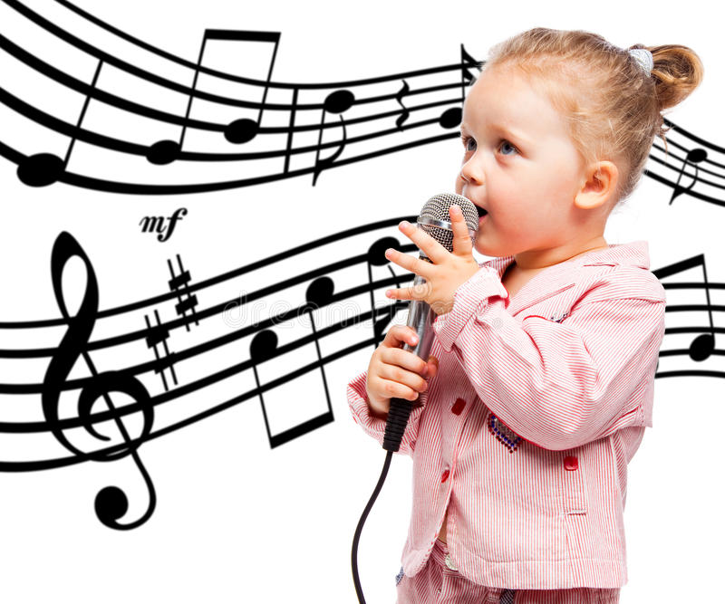 Little girl with microphone stock images