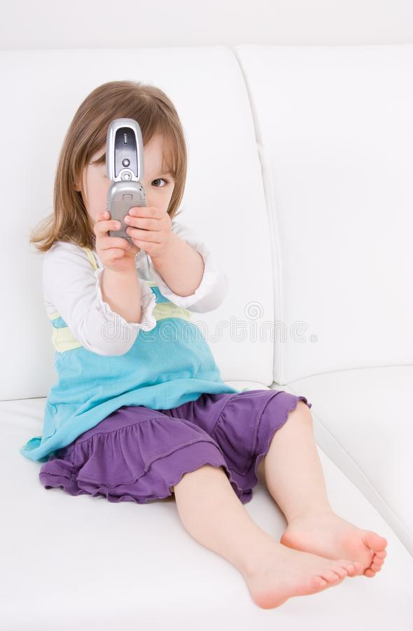 Download Little Girl With Mobile Phone Stock Image - Image of love, little: 14054593