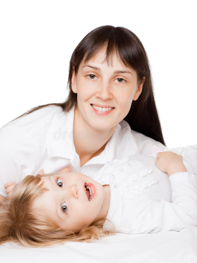 Download Little girl with mom stock image. Image of goodness, isolated - 13423273
