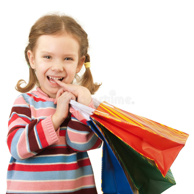 Download Little Girl With Multi-colored Packages Stock Image - Image of cheerful, childhood: 13835427