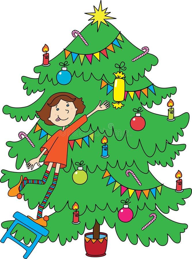 Download Little Girl Near Christmas-tree Stock Illustration - Image: 16875550