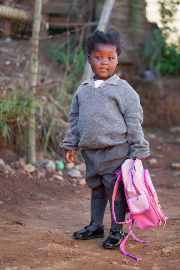 Little Girl Off To School Stock Photo