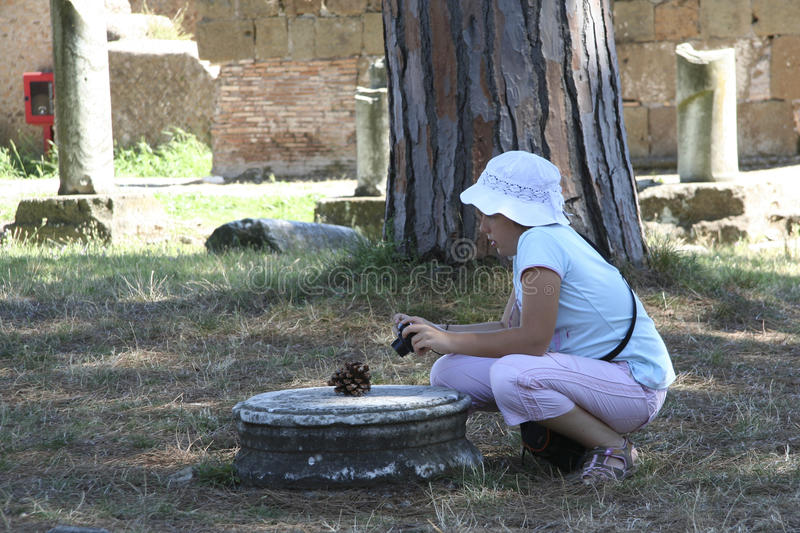 Little girl at Ostia Antica, Rome, Italy stock image