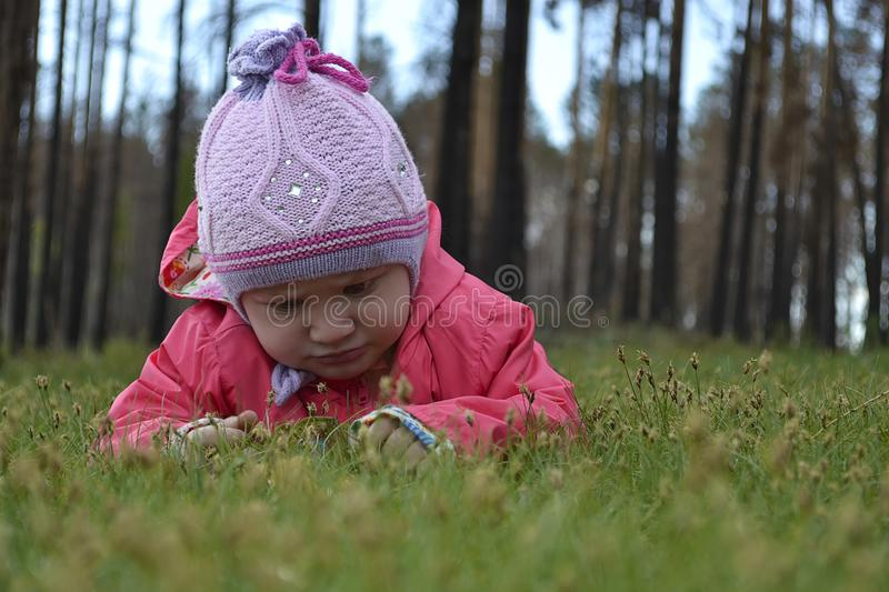 Little Girl outdoor. Focus on the grass. Face blurred. royalty free stock photo
