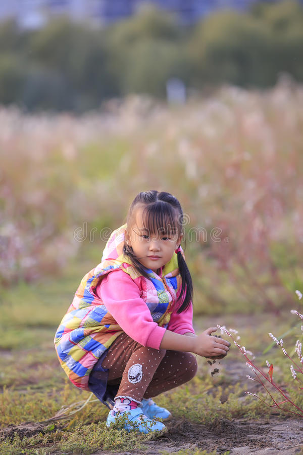 The little girl in the outdoor play. Chinese little girl in outdoor play royalty free stock photo
