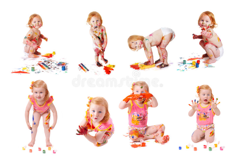 Little girl with paint royalty free stock image