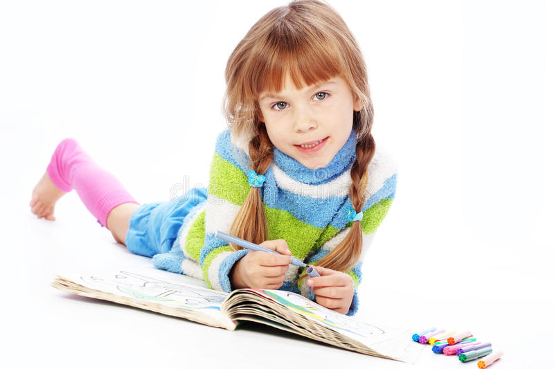 Download Little girl painting stock image. Image of making, lying - 17172823