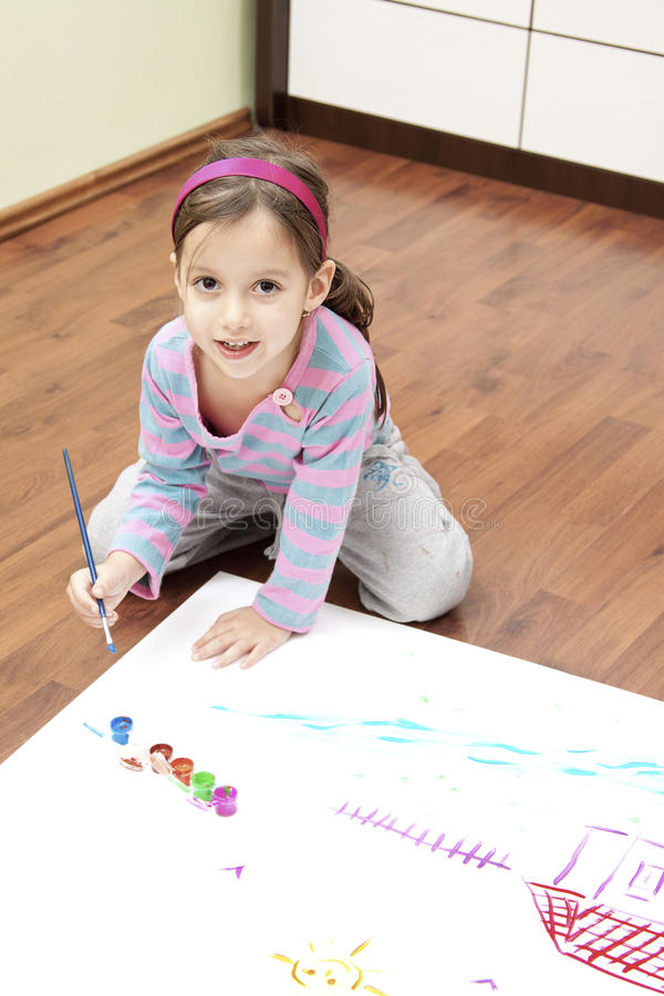 Download Little Girl Painting Stock Photography - Image: 23163452
