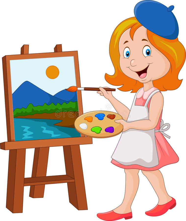 Little girl painting on a canvas vector illustration