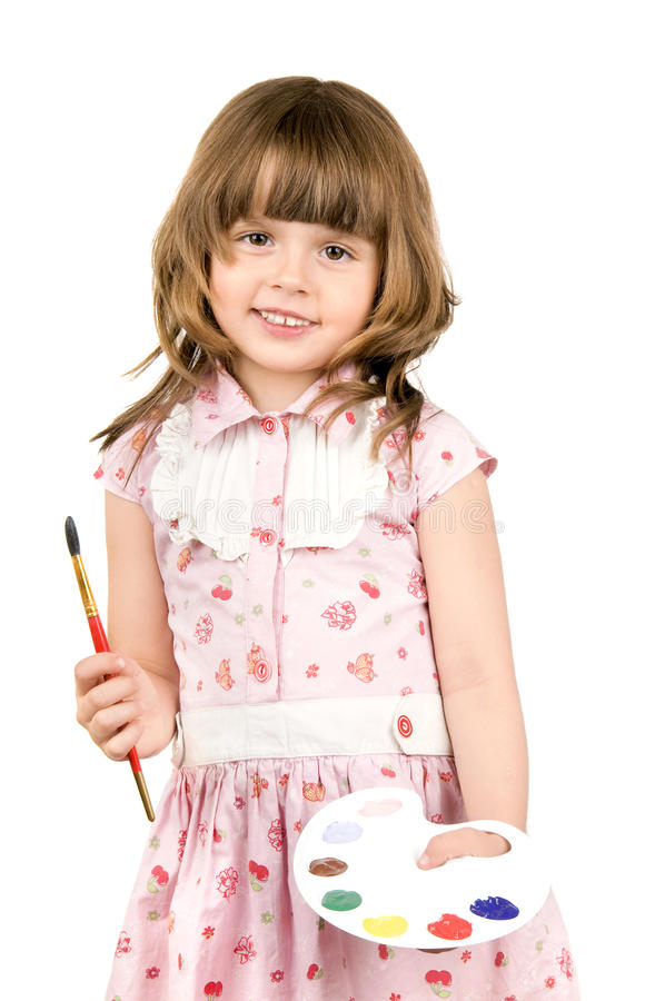 Little girl with palette stock photos