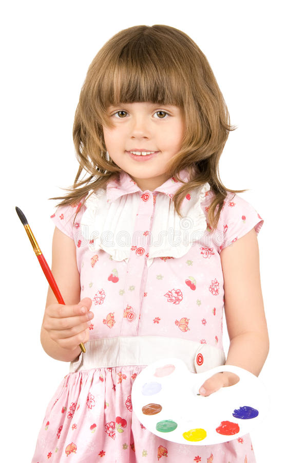 Little girl with palette stock image