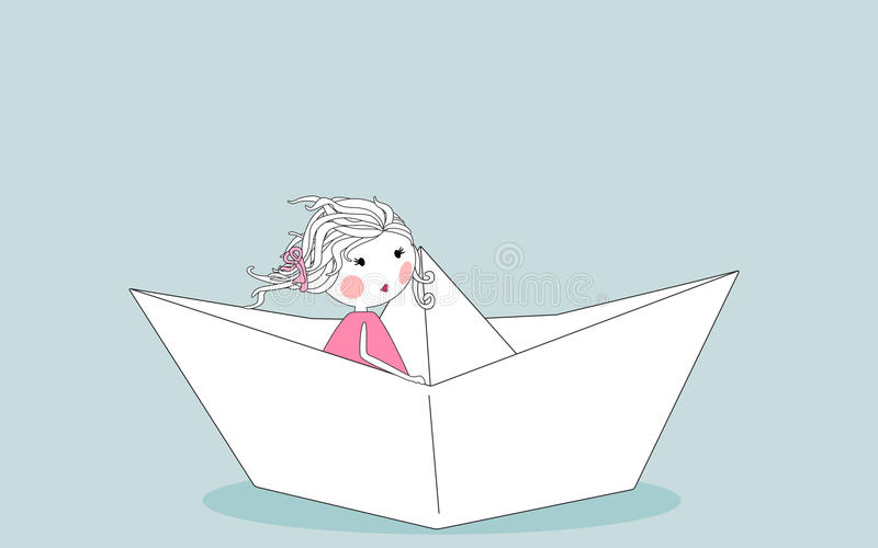 Little Girl In Paper Boat Stock Photos