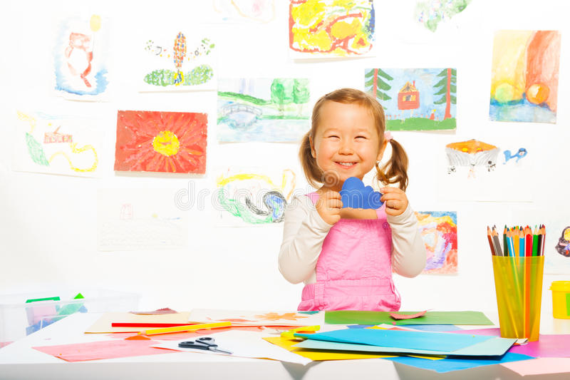 Download Little Girl With Paper Cloud Stock Image - Image of artist, kids: 38747793