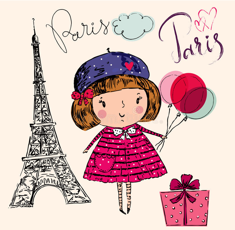 Little girl in Paris. Vector hand drawn illustration with Eiffel tower. Paris. Little girl in Paris