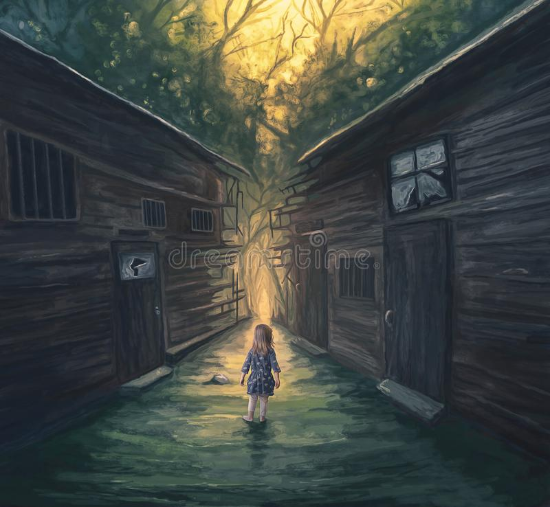 Little girl and pathway. A little girl approaches a pathway through broken homes vector illustration