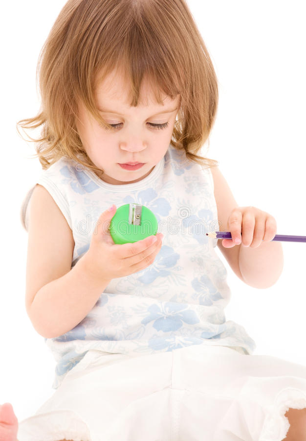 Download Little girl with pencil stock image. Image of pencil - 11013899