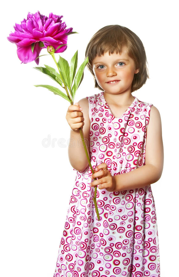 Download Little Girl With  Peony Flower Royalty Free Stock Photo - Image: 19664795