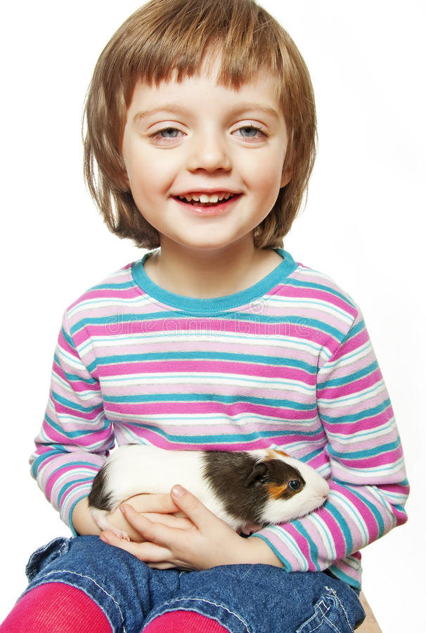 Download Little Girl And Pet - Guinea Pig Stock Photo - Image: 17758282