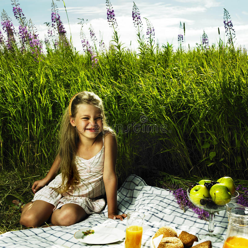 Download Little Girl At Picnic Stock Image - Image: 28699381