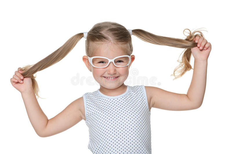 Little girl with pigtails royalty free stock photography