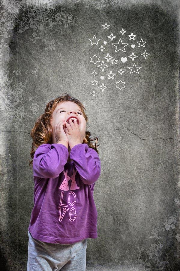 Little girl in pijamas stock image