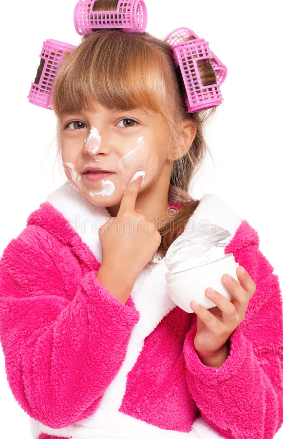 Download Little Girl In Pink Bathrobe Stock Image - Image of curls, bathrobes: 29479495